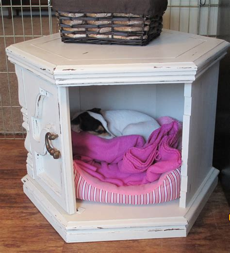 dog side bed side table dog bed hide out made with diy chalk paint