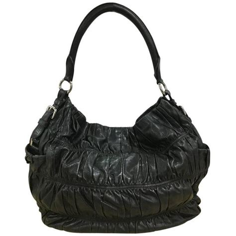 Prada Nappa Gaufrean Hobo by Prada Gaufre Side Pocket Hobo Nappa Leather Large For Sale