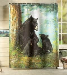 Curtains With Bears On Them Northwood Bathroom Decor Black Family In Forest Shower Curtain