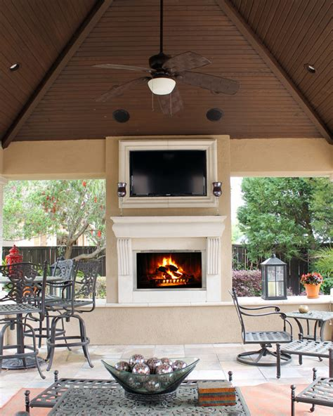 outdoor fireplace surround traditional patio