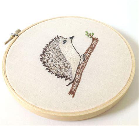 embroidery hoop art hedge hog   log original woodland