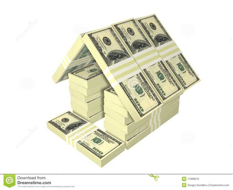 home design free money dollar bills pack money house isolated royalty free stock