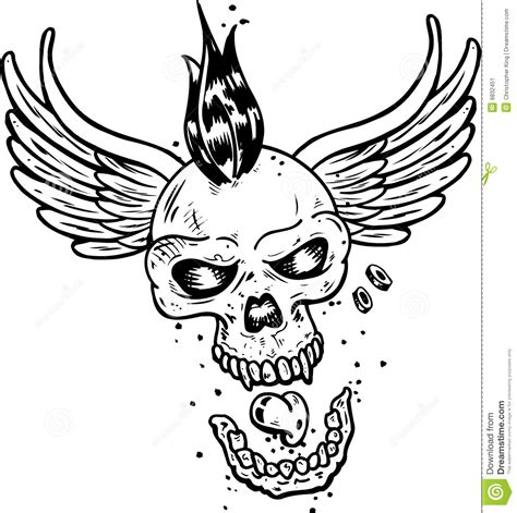 punk tattoo style skull with wings stock vector image