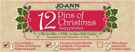 Joann Fabric Gift Card Online - jo ann fabric the 12 pins of christmas giveaway win a 100 jo ann fabric gift card