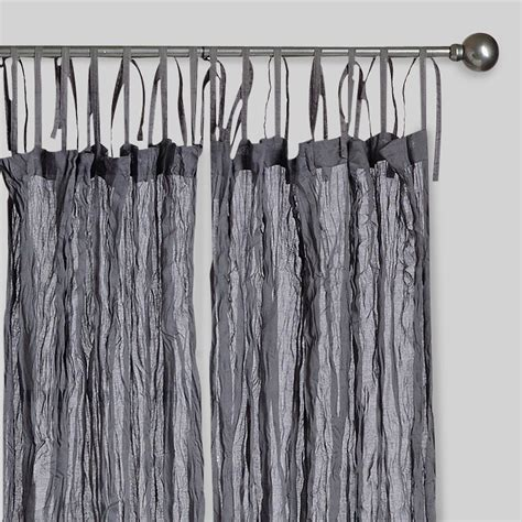 curtains gray gray crinkle voile cotton curtains set of 2 world market