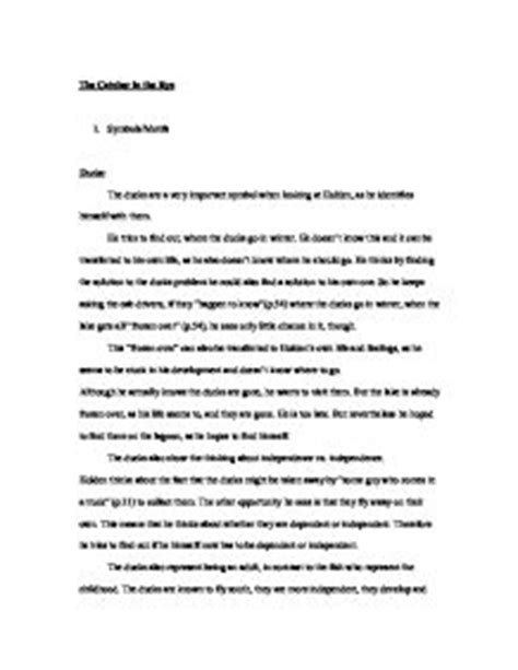 Catcher In The Rye Symbolism Essay by The Catcher In The Rye Symbolism Of Ducks A Level Marked By Teachers