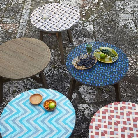 Mosaic Tile Patio Table Mosaic Tiled Bistro Table Aqua Glass Contemporary Outdoor Pub And Bistro Tables By West Elm