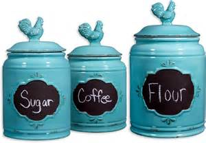 Kitchen Canisters Set by Rooster Blue Set Of 3 Ceramic Storage Canisters