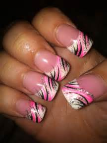 pink amp black nail design my nail art pinterest