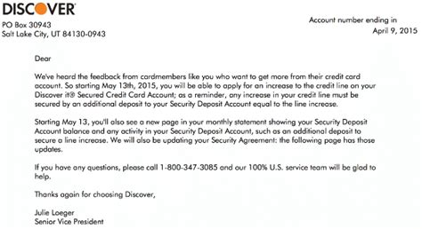 Credit Increase Letter Discover It Secured Credit Cardholders Can Now Increase Their Security Deposit And Credit Limits