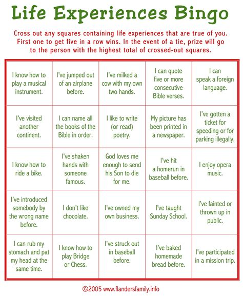Free Printable Bingo Games For Adults | ice breaker bingo free printable flanders family homelife