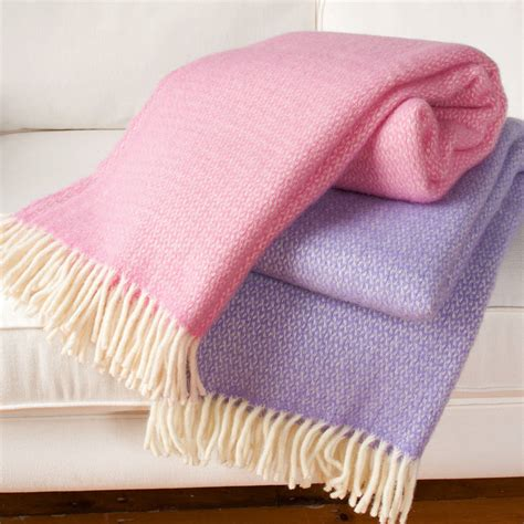 throw comforter wool throw blanket in pink and lilac by jodie byrne