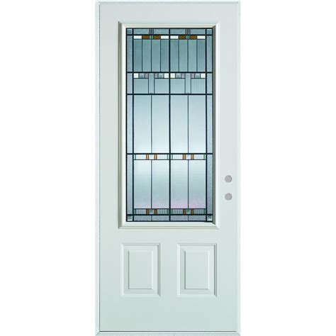 Stanley Exterior Door Stanley Doors 37 375 In X 82 375 In Architectural 3 4 Lite 2 Panel Painted White Steel Prehung