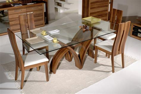 Wooden Glass Dining Table Glass Top Dining Tables Homesfeed
