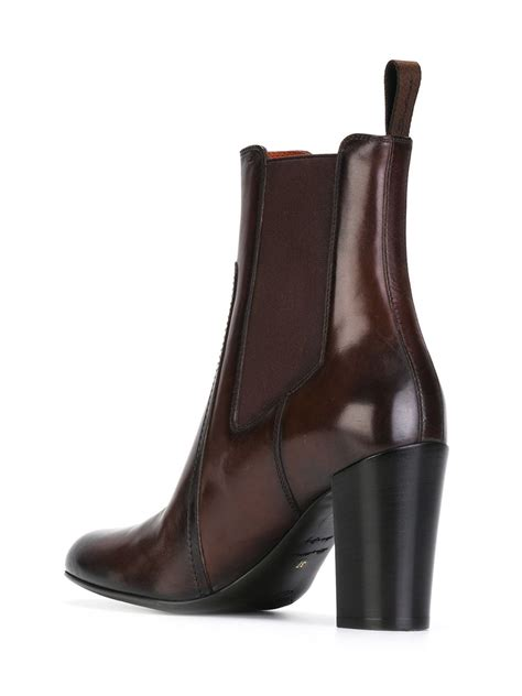 santoni chunky heel ankle boots in brown lyst