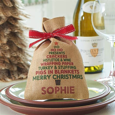 personalised christmas tree mini christmas sack by harrow