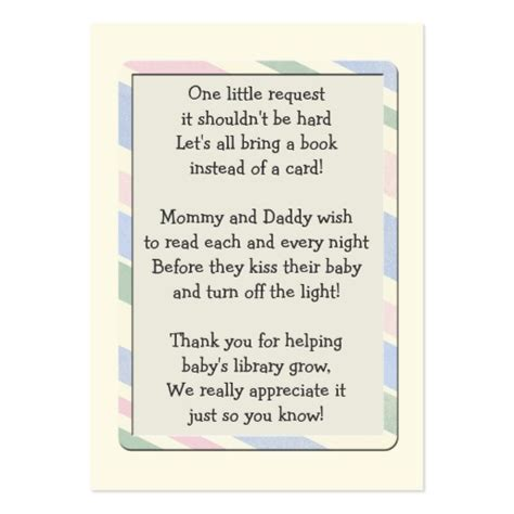 baby shower book poem instead of card baby shower book request insert card zazzle
