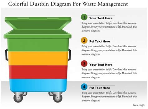 colorful dustbin diagram  waste management powerpoint template  powerpoint