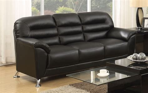Asmund Modern Black Faux Leather Sofa With Chrome Legs Black Leather Sofa With Chrome Legs