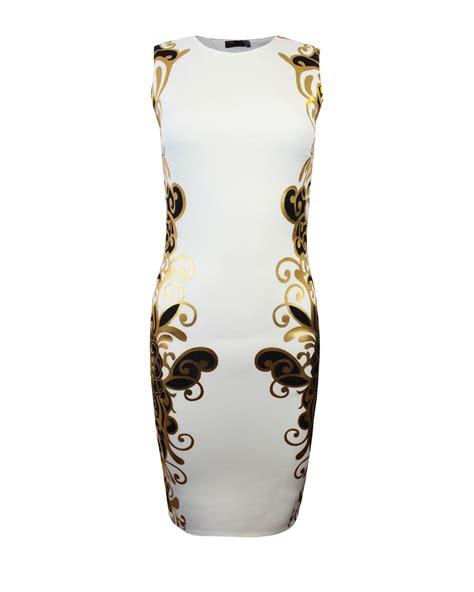 Sleeveless Mini Midi Dress womens gold foil floral print sleeveless bodycon