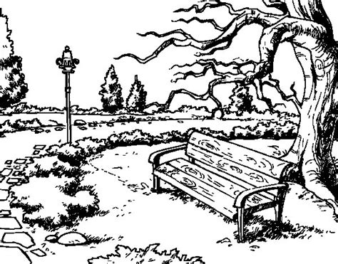 imagenes para dibujar un paisaje dibujo de paisaje de parque para colorear dibujos net