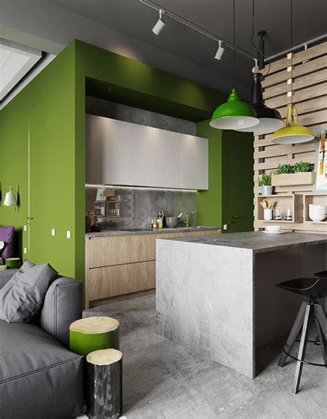 concrete apartments industrial chic apartment with bold green touches digsdigs