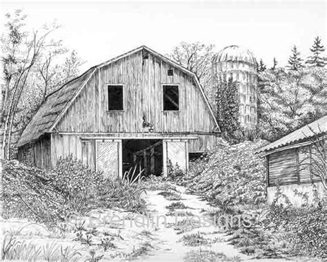 scheune zeichnung drawing barns brendlin designs ink drawings my