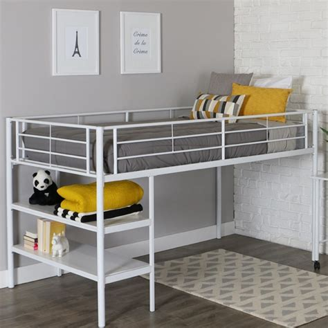 White Metal Bed Frame Low Loft Bed With Desk Shelves Low Bed Frames For Lofts