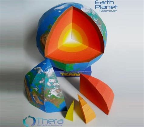 earth planet with structure paper model by