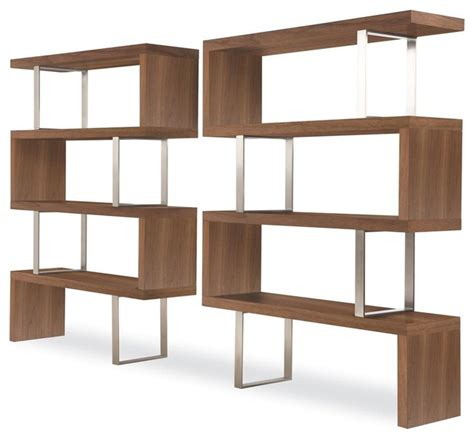 contemporary shelving pearl bookcase in walnut finish contemporary bookcases