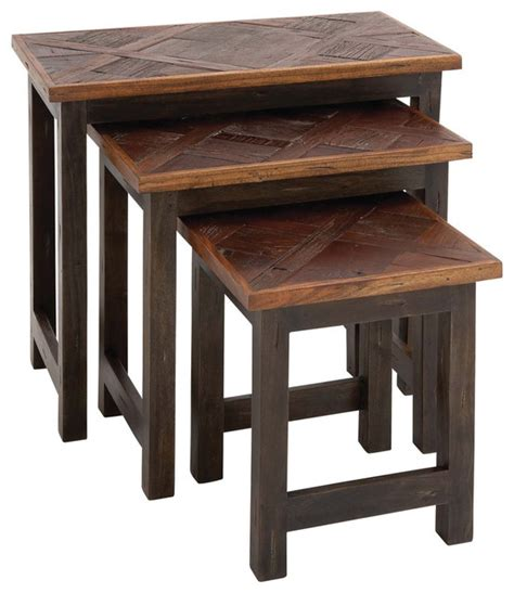 Rustic Coffee Table Sets Benzara The Amazing Set Of 3 Wood Nesting Table Rustic Coffee Table Sets By Benzara