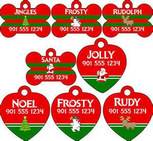 christmas themed names themed pet id tags for dogs cats personalized w name number ebay