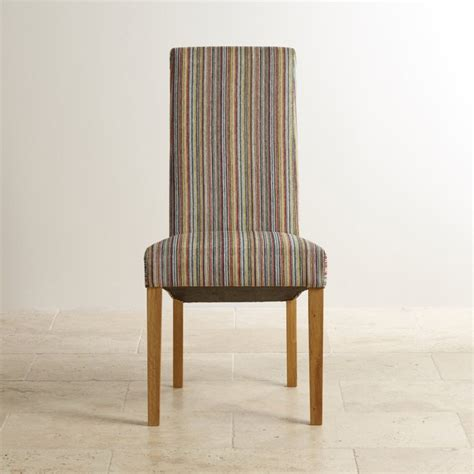 multi coloured dining chairs scroll back dining chair in striped multicoloured fabric