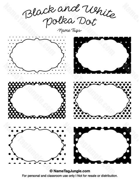 printable shapes name tags printable black and white polka dot name tags