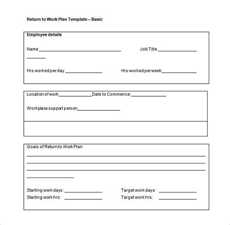 back to work template work plan template 12 free word pdf documents