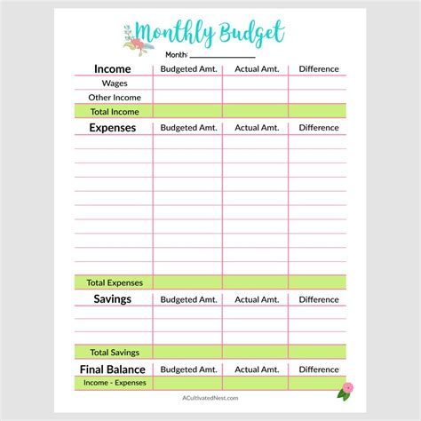 monthly budget sheet printable military bralicious co