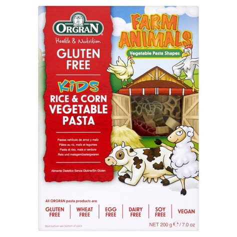 Orgran Rice And Corn Macaroni orgran gluten free rice corn vegetables pasta animal shapes 200g from ocado