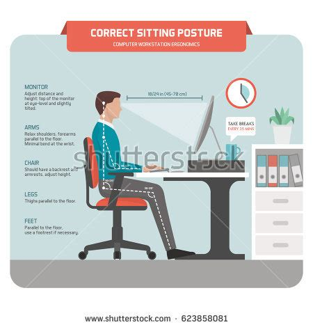 ergonomic sitting at desk ergonomics stock images royalty free images vectors