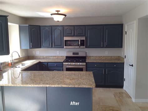 Painting Kitchen Cabinets Black Before And After by Wood Cabinets Painted To Grey After Painting