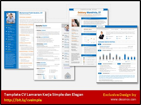 Contoh Bedak Ultima 2 desain cv kreatif surat lamaran kerja simpel dan elegan