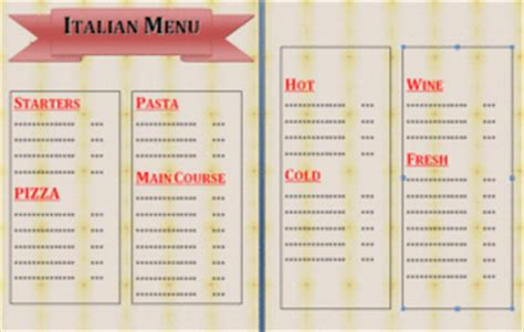 italian restaurant menu template image gallery italian restaurant menu template
