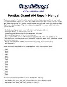 Pontiac Grand Am Manual Pontiac Grand Am Repair Manual 1990 2005