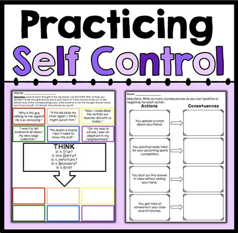 self control worksheets practicing self control student learning worksheets and