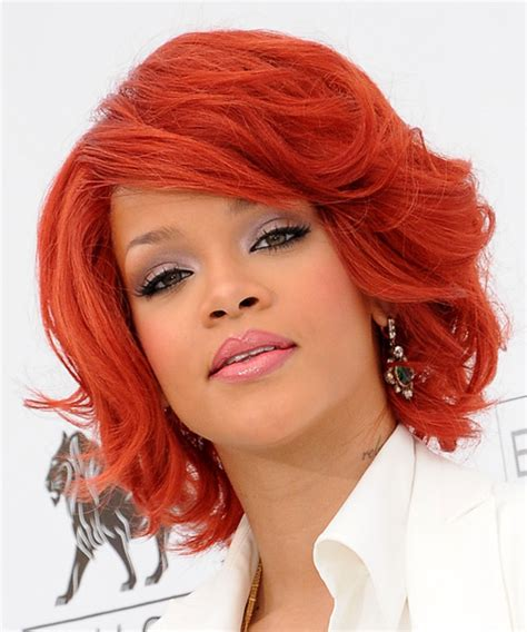 formal hairstyles red hair rihanna medium wavy formal hairstyle with side swept bangs