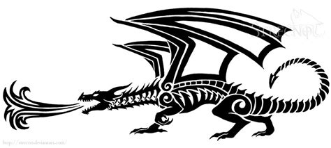 fire breathing dragon tattoo designs breathing version 1 by strecno on