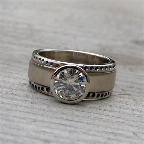 made moissanite recycled palladium sterling silver