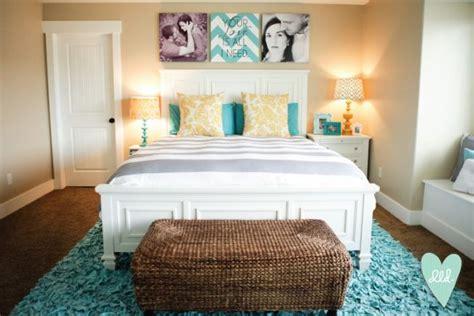 aqua mustard teal grey white master bedroom design