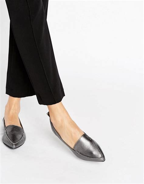 aldo flat shoes aldo aldo bazovica pewter leather point flat shoes