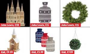 aldis christmas decorations aldi takes on lewis with copycat versions of its decorations daily mail