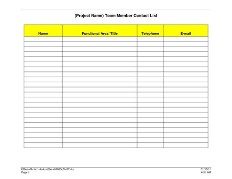 team contact list template printable phone list template website resume cover letter